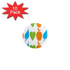 Fruit Apple Orange Green Blue 1  Mini Magnet (10 Pack)  by Mariart