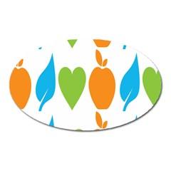 Fruit Apple Orange Green Blue Oval Magnet by Mariart