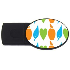 Fruit Apple Orange Green Blue Usb Flash Drive Oval (2 Gb) by Mariart
