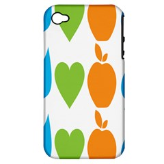 Fruit Apple Orange Green Blue Apple Iphone 4/4s Hardshell Case (pc+silicone) by Mariart