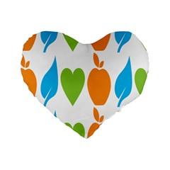 Fruit Apple Orange Green Blue Standard 16  Premium Heart Shape Cushions by Mariart