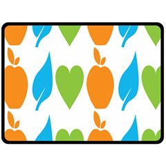 Fruit Apple Orange Green Blue Double Sided Fleece Blanket (large)  by Mariart