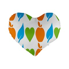 Fruit Apple Orange Green Blue Standard 16  Premium Flano Heart Shape Cushions by Mariart