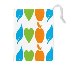 Fruit Apple Orange Green Blue Drawstring Pouches (extra Large) by Mariart