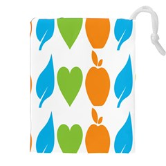 Fruit Apple Orange Green Blue Drawstring Pouches (xxl) by Mariart