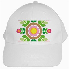 Flower Floral Sunflower Sakura Star Leaf White Cap by Mariart