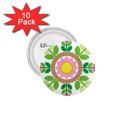Flower Floral Sunflower Sakura Star Leaf 1 75  Buttons (10 Pack) by Mariart