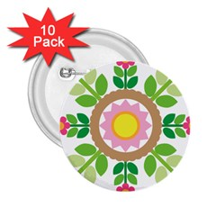 Flower Floral Sunflower Sakura Star Leaf 2 25  Buttons (10 Pack)  by Mariart