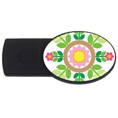 Flower Floral Sunflower Sakura Star Leaf Usb Flash Drive Oval (2 Gb) by Mariart