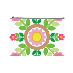 Flower Floral Sunflower Sakura Star Leaf Cosmetic Bag (large)  by Mariart