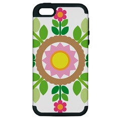 Flower Floral Sunflower Sakura Star Leaf Apple Iphone 5 Hardshell Case (pc+silicone) by Mariart