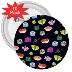 Japanese Food Sushi Fish 3  Buttons (10 Pack)  by Mariart