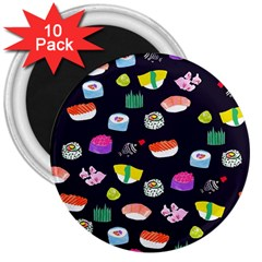 Japanese Food Sushi Fish 3  Magnets (10 pack)