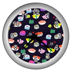 Japanese Food Sushi Fish Wall Clocks (silver)  by Mariart