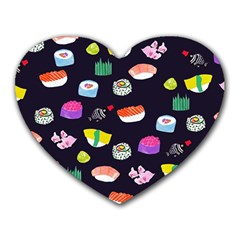 Japanese Food Sushi Fish Heart Mousepads by Mariart