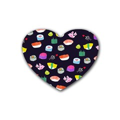 Japanese Food Sushi Fish Rubber Coaster (heart)  by Mariart