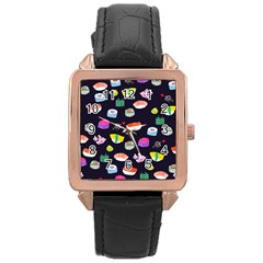 Japanese Food Sushi Fish Rose Gold Leather Watch  by Mariart