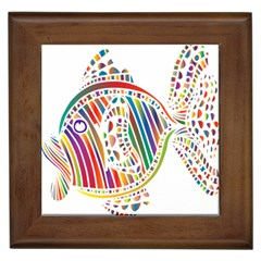 Colorful Fish Animals Rainbow Framed Tiles by Mariart
