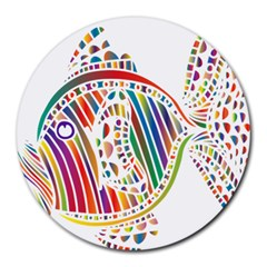 Colorful Fish Animals Rainbow Round Mousepads by Mariart