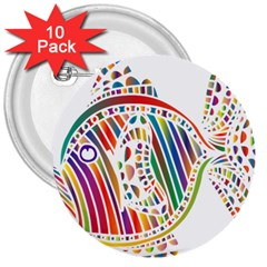 Colorful Fish Animals Rainbow 3  Buttons (10 Pack)  by Mariart