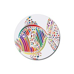 Colorful Fish Animals Rainbow Rubber Coaster (round)  by Mariart