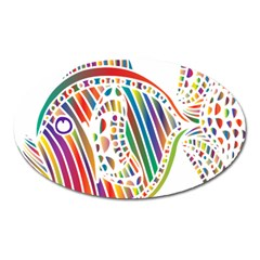Colorful Fish Animals Rainbow Oval Magnet by Mariart
