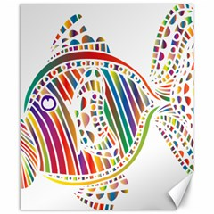 Colorful Fish Animals Rainbow Canvas 8  X 10  by Mariart