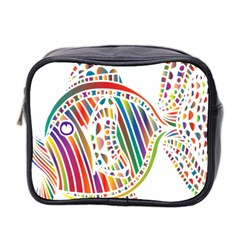 Colorful Fish Animals Rainbow Mini Toiletries Bag 2 Side by Mariart