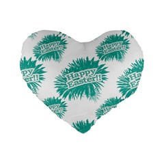 Happy Easter Theme Graphic Standard 16  Premium Flano Heart Shape Cushions by dflcprints
