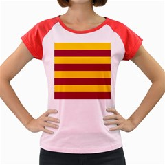 Oswald s Stripes Red Yellow Women s Cap Sleeve T Shirt by Mariart