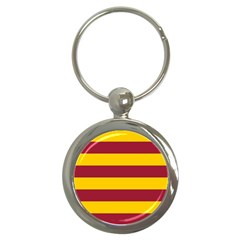 Oswald s Stripes Red Yellow Key Chains (round)  by Mariart