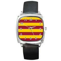Oswald s Stripes Red Yellow Square Metal Watch by Mariart