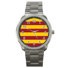 Oswald s Stripes Red Yellow Sport Metal Watch by Mariart