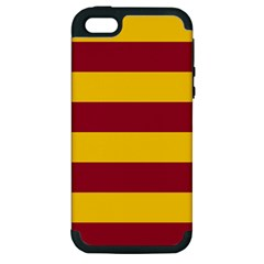 Oswald s Stripes Red Yellow Apple Iphone 5 Hardshell Case (pc+silicone) by Mariart