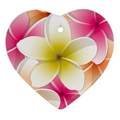 Frangipani Flower Floral White Pink Yellow Ornament (heart) by Mariart