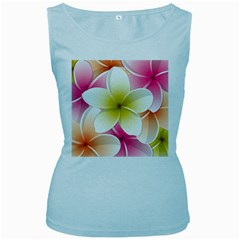 Frangipani Flower Floral White Pink Yellow Women s Baby Blue Tank Top by Mariart