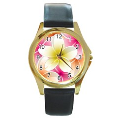 Frangipani Flower Floral White Pink Yellow Round Gold Metal Watch by Mariart