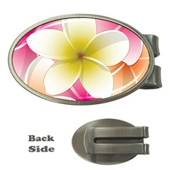 Frangipani Flower Floral White Pink Yellow Money Clips (oval)  by Mariart