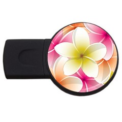 Frangipani Flower Floral White Pink Yellow Usb Flash Drive Round (2 Gb) by Mariart