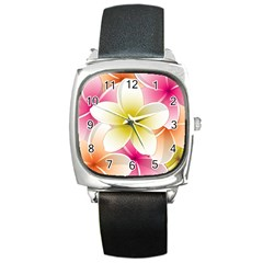 Frangipani Flower Floral White Pink Yellow Square Metal Watch by Mariart