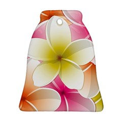 Frangipani Flower Floral White Pink Yellow Ornament (bell) by Mariart