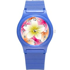 Frangipani Flower Floral White Pink Yellow Round Plastic Sport Watch (s) by Mariart