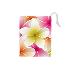 Frangipani Flower Floral White Pink Yellow Drawstring Pouches (small)  by Mariart