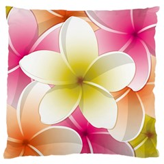 Frangipani Flower Floral White Pink Yellow Large Flano Cushion Case (Two Sides)