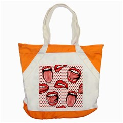 Lipstick Lip Red Polka Dot Circle Accent Tote Bag by Mariart