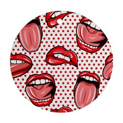 Lipstick Lip Red Polka Dot Circle Round Ornament (two Sides) by Mariart