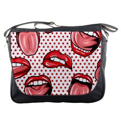Lipstick Lip Red Polka Dot Circle Messenger Bags by Mariart