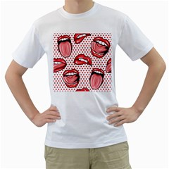 Lipstick Lip Red Polka Dot Circle Men s T Shirt (white)  by Mariart