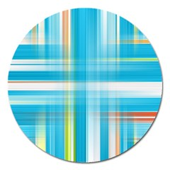 Lines Blue Stripes Magnet 5  (round) by Mariart