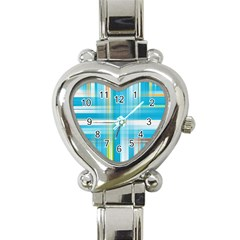 Lines Blue Stripes Heart Italian Charm Watch by Mariart